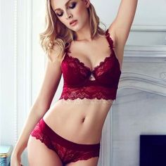 3232839da71 2018 summer female lingerie sexy lace bras Red gather push up women  underwear bra set girl