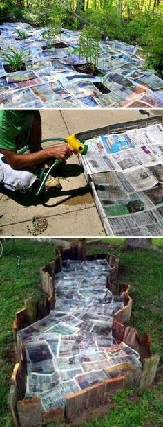 Use newspaper and water to stop weeds from growing in your garden bed #gardening #gardeningtips Container Gardening, Gardening Tips, Organic Gardening, Garden Beds, Weed, Backyard, Bath, Outdoor Decor, Home Decor