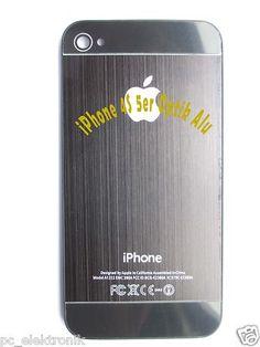 Akkudeckel für iPhone 4S 5er Optik Alu schwarz. Wechseln Sie selber Ihr defektes Backcover / Akkudeckel und sparen Geld