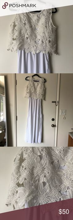 LULU'S // floral lace maxi dress brand new, never worn white maxi dress, with floral lace detail on the top and a flowing white skirt. skirt is lined through the hips to right above the knee then looks a bit more sheer below. would be perfect for a spring summer day with tan wedges or a bridal events! Lulu's Dresses Maxi