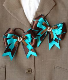 Turquoise & Brown Horse Show Bow Shorties