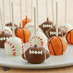 Football, Baseball, & basketball cake pops.