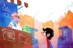 """Ilustración para el libro """"El niño que perdió la sombra"""" escrito por Pat Ubach para Nice Tales. Disponible para iPad: http://www.nicetales.com/es/el-ninyo-que-perdio-la-sombra . art by © Juan Bauty 2014."""