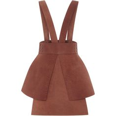 Alena Akhmadullina Leather Suspender Skirt (52,270 PHP) via Polyvore featuring skirts, dresses, alena akhmadullina, knee length leather skirt, peplum skirt, leather skirt and brown skirt