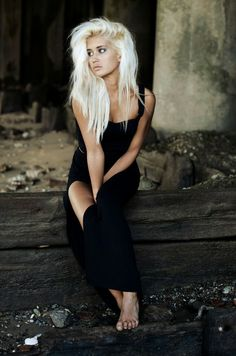 Platinum blonde hair.