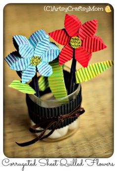 3D Corrugated Cardboard Quilled Flowers perfect for Mother's Day