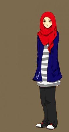 Muslim Manga and Anime Drawings People Illustration, Illustration Girl, Character Illustration, Illustrations, Hijab Drawing, Manga Drawing, Cartoon Sketches, Cartoon Art, Cartoon Ideas