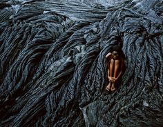 Stephen Wilkes, Nudes, Fatou sitting on lava Human Body Art, Ellis Island, A Moment In Time, Fine Art Gallery, How To Raise Money, Fairy Tales, Art Photography, Explore, Lava