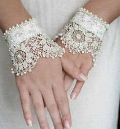Fancy - blanche-antique-lace-wrist-cuffs The long armed girl solution! Antique Lace, Vintage Lace, Elegant Wedding Gowns, Wedding Dress, Lace Wedding, Wedding Gloves, Lace Cuffs, Fancy, Linens And Lace