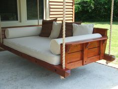 Do you want this swing bed? Porch Bed, Diy Porch, Porch Swings, Patio Daybed, Concrete Patios, Camas Murphy, Indoor Outdoor, Outdoor Ideas, Murphy Bed Plans