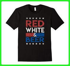 Mens Funny Patriotic 4th of July 2017: Red White and Beer T-shirt XL Black - Food and drink shirts (*Amazon Partner-Link)