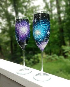 Hand painted galaxy champagne flutes set of by ArianaVictoriaRose, $32.00