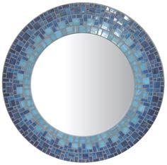 Blue Mosaic Mirror - Round
