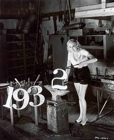 Thelma Todd forging a new year, 1932!