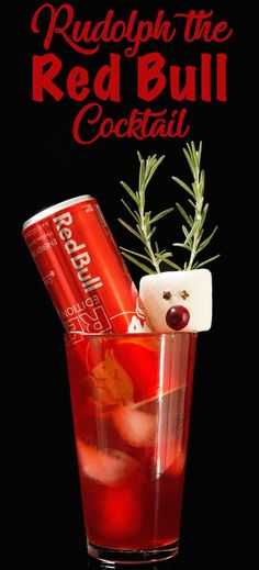 Rudolph The Red Bull Cocktails : Rudolph the Red Bull Cocktail is a fun Christmas drink with flavors of orange, cranberry, and allspice. Served with cranberry Red Bull and a marshmallow Rudolph the Red Nose Reindeer garnish. Christmas Cocktails, Holiday Drinks, Fun Cocktails, Fun Drinks, Cocktail Recipes, Drink Recipes, Beverages, Cocktail Ideas, Cranberry Cocktail