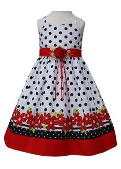 Our new Valentina 'Polka Dot with Red Flowers Valentines spring/summer Dress' will be perfect on your little lady! Accenting the simple spaghetti strap, black polka dot dress, a solid red sash lays ab
