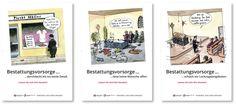 Sprüche-Poster der Bestattungsvorsorge Treuhand, schwarzer Humor