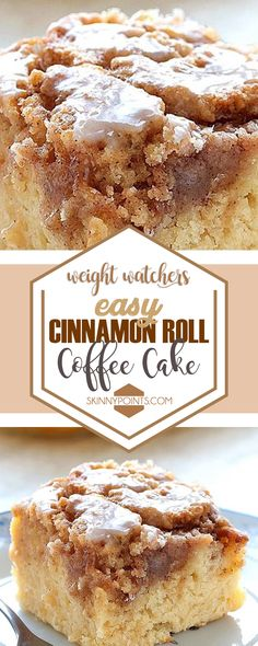 Easy Cinnamon Roll Coffee Cake #weightwatchers #cinnamon #roll #coffee