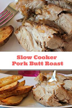 This slow cooker pork roast recipe transforms a pork butt roast into a tender, delicious meal. Fix it and forget about it. Slow Cooker Pork Roast, Pork Roast Recipes, Crock Pot Slow Cooker, Slow Cooker Recipes, Cooking Recipes, Crockpot Recipes, Pot Roast, Yummy Recipes, Game Recipes