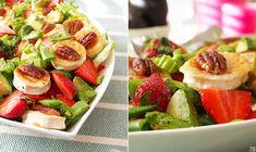 MANSIKKA-VUOHENJUUSTOSALAATTI - Kaakao kermavaahdolla Pasta Salad, Cobb Salad, Ethnic Recipes, Food, Crab Pasta Salad, Meals, Noodle Salads, Yemek, Eten