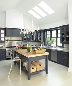 "Very sleek--nice 'line between heaven and earth"" could use some warmth however but I suppose this is one way to stay very slim and edgy...gray cabinets + pair of chandeliers 