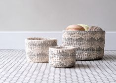 Ravelry: Willoughby Nesting Bins pattern by Caitlin Vannoy Crochet Yarn, Free Crochet, Tiger Crafts, Square Baskets, Free Pattern Download, Easy Crochet Projects, Crochet Home Decor, Crochet Patterns, Knitting Patterns