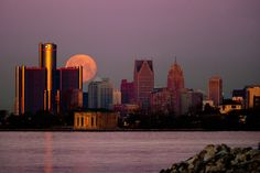 Photograph Moonset over Detroit III by Bobby Alcott on 500px