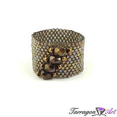 Pierścionek Beaded Elegance - Rainbow Black Diamond - Pierścionki - Tarragon Art - stylowa biżuteria artystyczna