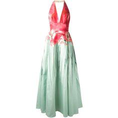 Elie Saab halterneck printed gown (34.835 HRK) found on Polyvore featuring dresses, gowns, elie saab, long dresses, vestidos, green, elie saab evening gowns, halter gown, halter neck dress and green evening gown