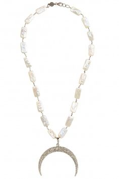 Large Diamond Moon Pendant Necklace   | Calypso St. Barth