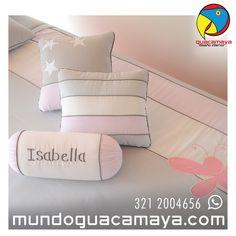 Lencerías personalizadas para bebés. Lencería para cunas y cama cunas. Lenceria Gris - rosa Cot Bedding, Room, Beds, Gray, Interiors