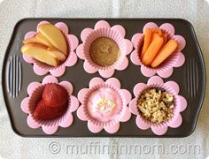 Snacks or lunch at home for kids served in small muffin tins (controls portion size and super cute).