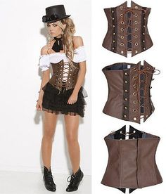 #Brown faux leather steampunk underbust corset #bustier #casual lace up waist bel,  View more on the LINK: http://www.zeppy.io/product/gb/2/262309729398/