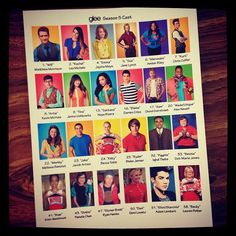 """updated our Costume Dept, Glee cast reference sheet!"" (Cory was #3)"