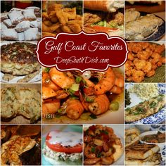 A collection of Gulf Coast favorites from Deep South Dish: Beignets, fried catfish, oyster po'boy, crab bread, classic fried shrimp, baked fish, Vancleave special crabmeat and cheese po'boy, Gulf Coast shrimp and grits, tuna melt, stuffed flounder, shrimp boulettes, pan fried crab cakes and much more!