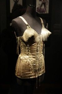 From the Jean Paul Gaultier Fashion Exhibit in San Francisco. It was nice that he allowed non-flash photography. This was designed for Madonna's Blonde Ambition Tour! Madonna Tour, Madonna Fashion, Presentation Styles, Vintage Bra, Flash Photography, Bra Lingerie, Jean Paul Gaultier, Ambition, Exhibit