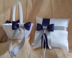 Winter Wedding ,Navy Blue And Gray Silver Flower Girl Basket And Ring Pillow Set. $30.00, via Etsy.
