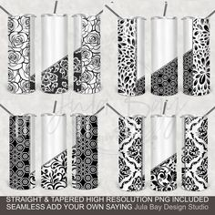 Damask Geometric Full Tumbler Wrap Bundle 20oz Skinny For Colored Tumblers or E