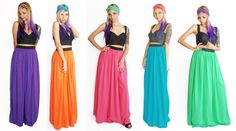 Rayon Maxi Skirt Bright Color with Elastic by fashionmeme on Etsy