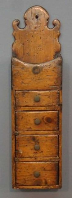 Lot: PRIMITIVE PINE WALL BOX, Lot Number: 0015, Starting Bid: $70, Auctioneer: Sandwich Auction House, Auction: May Auction of Antiques & Decorative Arts, Date: May 19th, 2012 BST