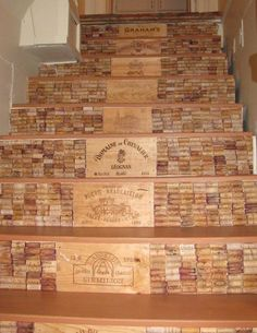 staircase design, crates of wine lids & Corks