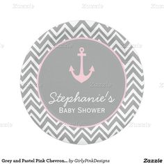 Grey and Pastel Pink Chevron Nautical Baby Shower Paper Plate
