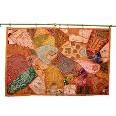 Amazon.com: Decorative Indian Sari Tapestry Orange Handmade Sequins Patchwork Wall Hanging Throw Art: Home & Kitchen