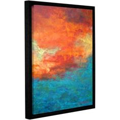 Herb Dickinson Lake Reflections II Floater-Framed Gallery-Wrapped Canvas, Size: 18 x 24, Orange