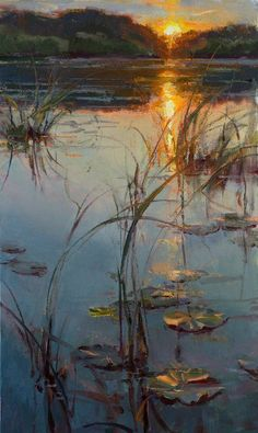 Sunset on still water – daniel Gerhartz – oil Art Drawings Paintings, Artists, Daniel Gerharzt, Art | Modern Art Movements To Inspire Your Design #OilPaintingSunset #OilPaintingWater