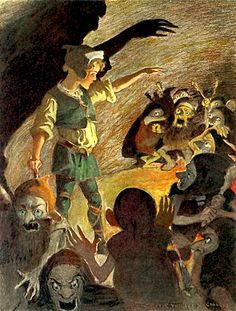 """The goblins fell back a little when he began, and made horrible... """"The princess and the goblin"""" illustrated by Jessie Willcox Smith (1920)"""