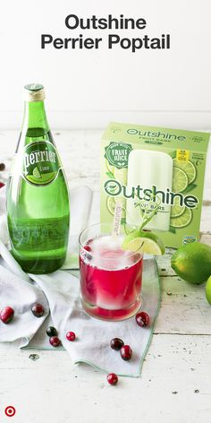 Mix Perrier Lime with cranberry juice, add some rosemary, an Outshine Lime bar and Poptail is ready! Non Alcoholic Drinks, Cocktail Drinks, Cocktail Recipes, Cocktails, Summer Drinks, Fun Drinks, Beverages, Lime, Healthy Snacks