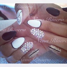 Bling almond  nails