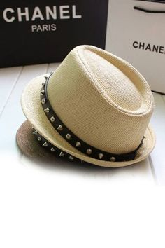 Who would think to put spike studded leather around a crisp clean fedora? Chanel did- and it looks so chic! So find a fedora hat you love and wrap it with studded leather- so edgy and cool! Sweater Weather, Panama, Straw Fedora, Fedora Hats, Men's Hats, Love Hat, Cute Hats, Studs, Fashion Accessories