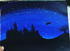 Acrylic Painting - Harry Potter - Hogwarts Castle, Flying car, Whomping Willow Night Sky